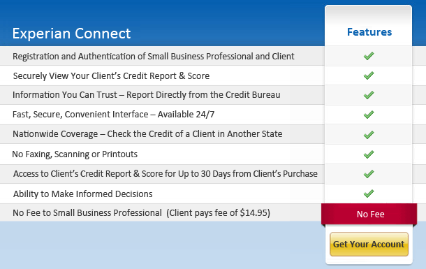 Experian Connect Credit Checking for Businesses - Get Your No Cost Account
